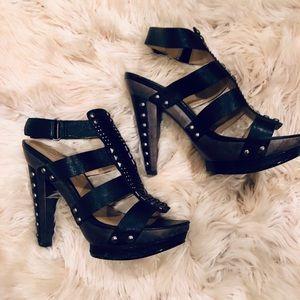 Rachel Roy Studded Black Platform Heels Size 6